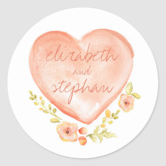 floral watercolor heart wedding classic round sticker