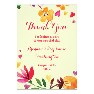 Floral Watercolor Hearts Wedding Thank You Card