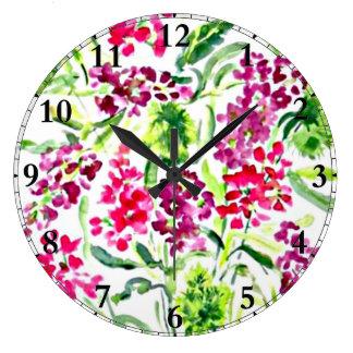 Floral Watercolor Large Clock