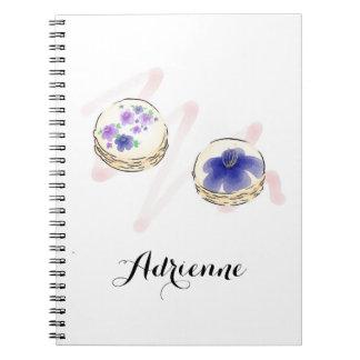 Floral Watercolor Macarons Custom Notebook