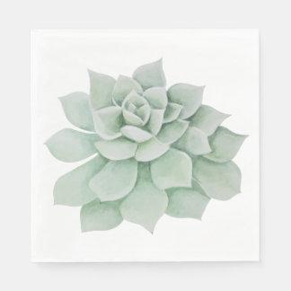 Floral Watercolor Mint Green Succulent Cactus Napkin