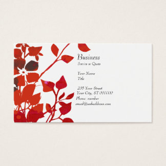 Floral Watercolor Modern Red Flowers  On White Business Card