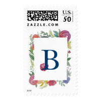 Floral Watercolor Monogram Custom Postage