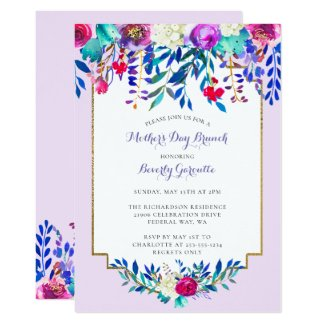 Floral Watercolor Mother's Day Brunch Invitation