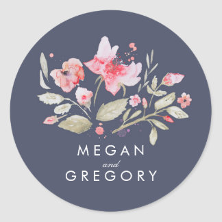 Floral Watercolor Navy Pink Wedding Classic Round Sticker