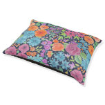 Floral watercolor pattern pet bed