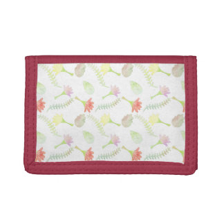 Floral Watercolor Pattern Trifold Wallet