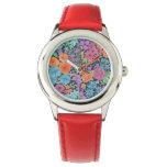 Floral watercolor pattern wrist watch