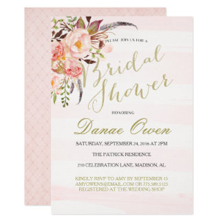 Floral Watercolor pink Bridal Shower invitations