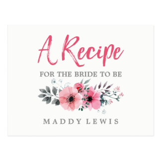 Floral Watercolor Poppies Bridal Shower Recipe Postcard
