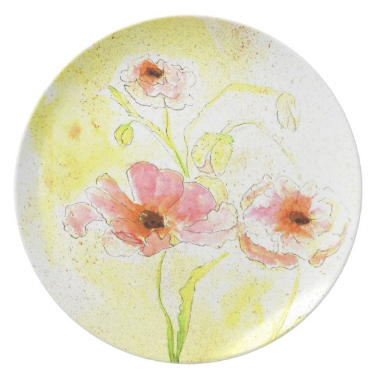 Floral Watercolor poppies Plate