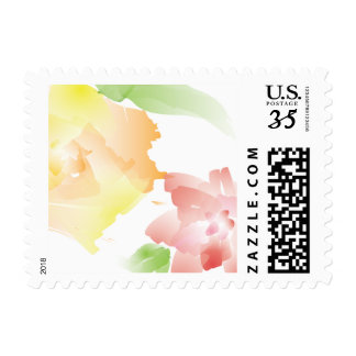 Floral Watercolor Postage Stamp Design Stationery