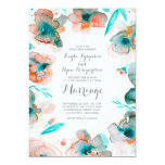 floral watercolor romantic teal wedding card