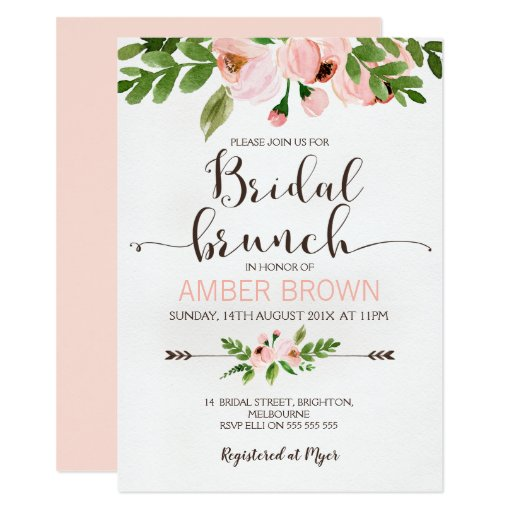 Floral Watercolor Roses Bridal Brunch Invitation
