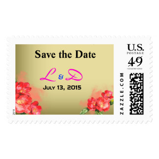 Floral Watercolor Save the Date Mongoram Stamps