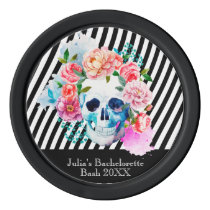 Floral Watercolor Skull With Stripes Poker Chip Set