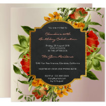 Floral Watercolor Spring Baroque Birthday Gold Card