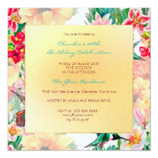 Floral Watercolor Spring Event Birthday Gold Card