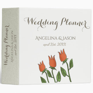 Floral Watercolor Spring White Wedding Planner Binder