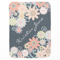 Floral Watercolor Strokes, Customize the color! Receiving Blanket