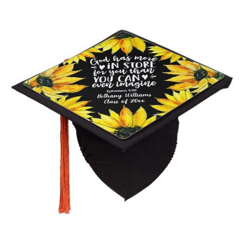 Floral Watercolor Sunflowers Bible Verse Script Graduation Cap Topper