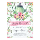 Floral Watercolor Teapot Bridal Shower Tea Card
