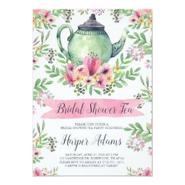 Bride Themed Floral Watercolor Teapot Bridal Shower Tea Card