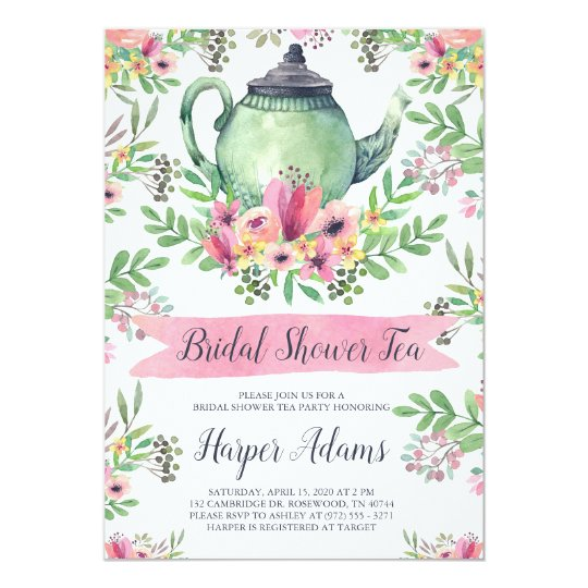 Floral watercolor teapot bridal shower tea card zazzle floral watercolor teapot bridal shower tea card filmwisefo Gallery
