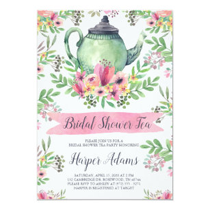 Tea bridal shower invitations zazzle floral watercolor teapot bridal shower tea invitation filmwisefo