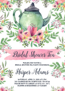 Teapot invitations zazzle floral watercolor teapot bridal shower tea invitation filmwisefo
