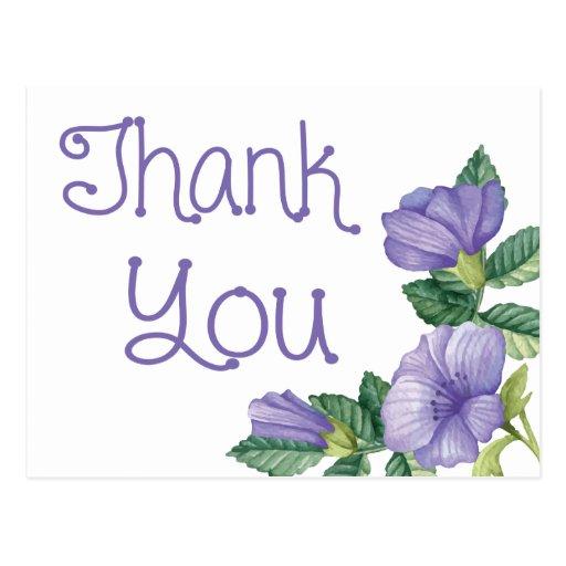 floral watercolor thank you purple flower postcard zazzle