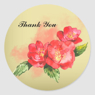 Floral Watercolor Thank You Sticker Round Stickers