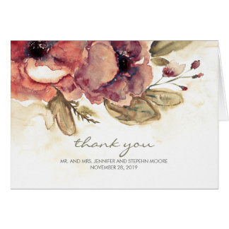 Floral Watercolor Vintage Wedding Thank You Card