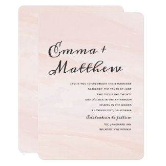 Floral Watercolor Wash Wedding Suite   Blush Invitation
