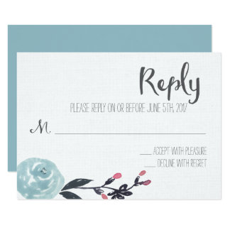 Floral Watercolor Wedding Reply Card