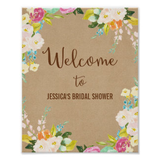 Floral Watercolor Welcome Poster Print