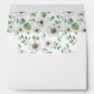 Floral Watercolor   White Anemone -  Wedding Envelope