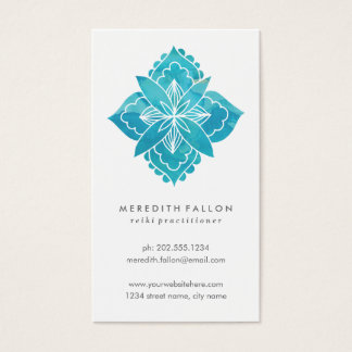 Floral Watercolor with Abstract Blue Flower Business Card