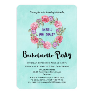 Floral Watercolor Wreath Bachelorette Party Invite