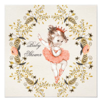 Floral Watercolor Wreath Ballerina Baby Shower Customized Announcement Card