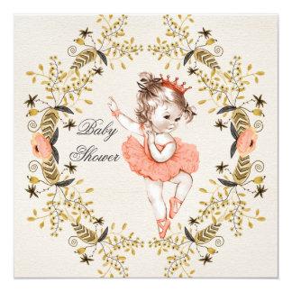 "Floral Watercolor Wreath Ballerina Baby Shower 5.25"" Square Invitation Card"