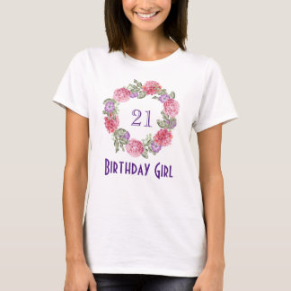 Floral Watercolor Wreath Birthday Girl T-Shirt