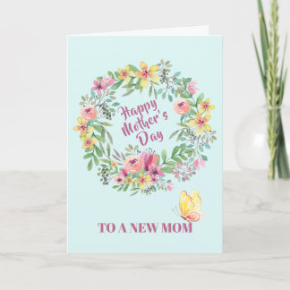 Floral Watercolor Wreath First Mother's Day Card