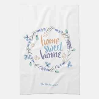 Floral Watercolor Wreath Home Sweet Home Towel