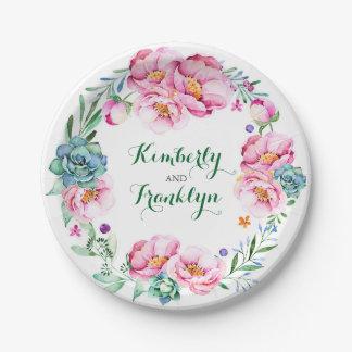 floral watercolor wreath pink succulents boho paper plate