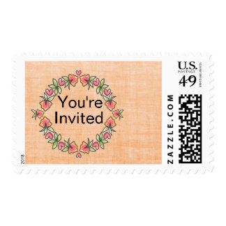 Floral Watercolor Wreath Postage Stamp