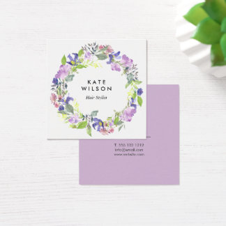 Floral Watercolor Wreath Purple Blue Flower Square Business Card