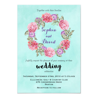 Floral Watercolor Wreath Wedding Invitation