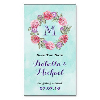 Floral Watercolor Wreath Wedding Save The Date Business Card Magnet