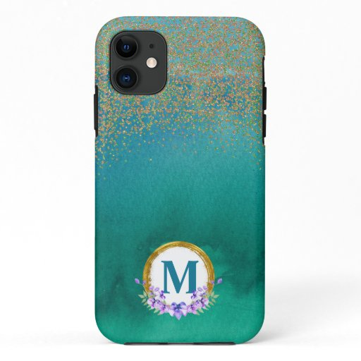 Floral WatercolorBlue Green Gold Glitter iPhone 11 Case